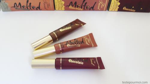 Swatches de nouveaux Melted Chocolate de Too Faced